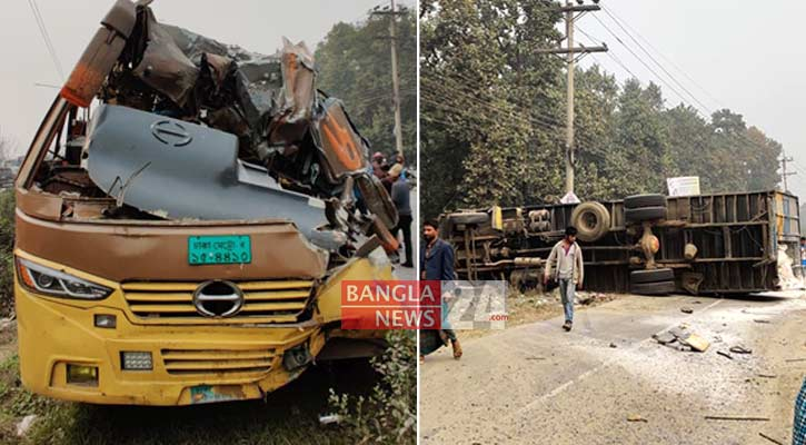 Bus-covered van collision kills 2 in Gazipur