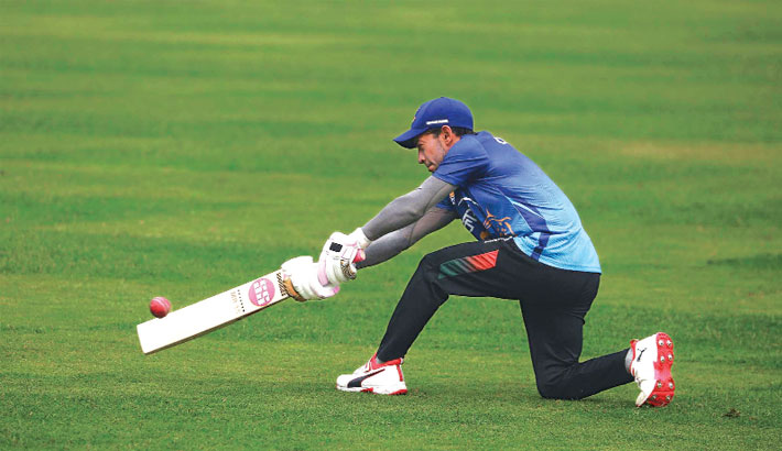 Mushfiqur Rahim plays a shot during a training session