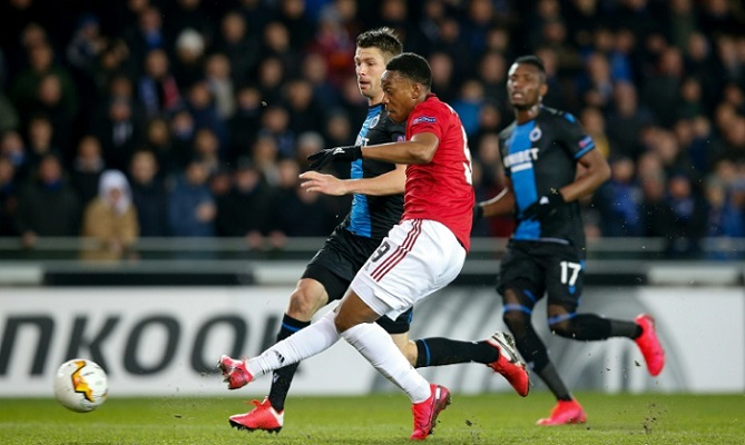 Martial grabs key goal for Man Utd in Bruges