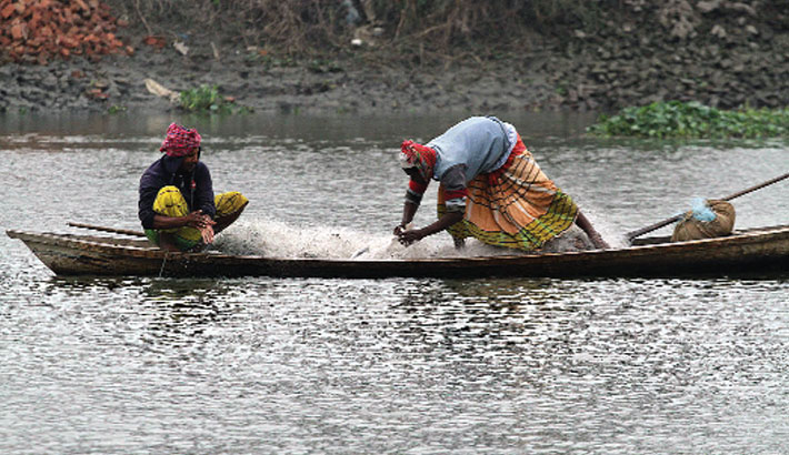 Two fishermen are busy fishing