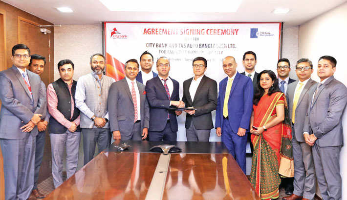 City Bank signs agreement with TVS Auto Bangladesh