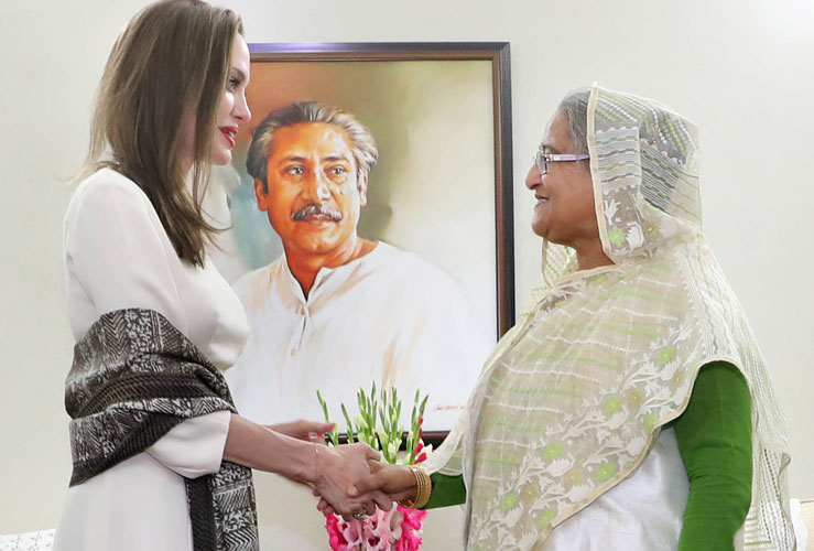 UNHCR special envoy Angelina Jolie applauded Bangladesh's leadership role in Rohingya crisis