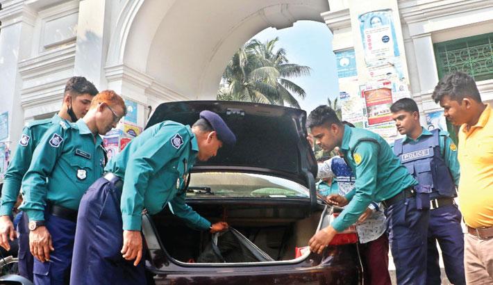 Cops search a private car