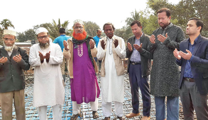 Inaugurating the construction work