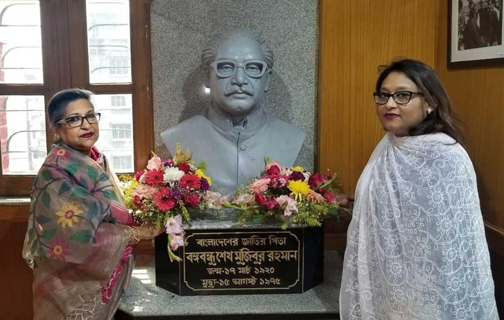 Sheikh Rehana, Saima pay homage to Bangabandhu at Kolkata 'Baker Hostel'