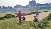 Football match scheduled in cricket pitch!