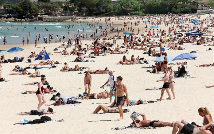 Huge crowds flocked to Sydney's iconic Bondi Beach despite the coronavirus scare