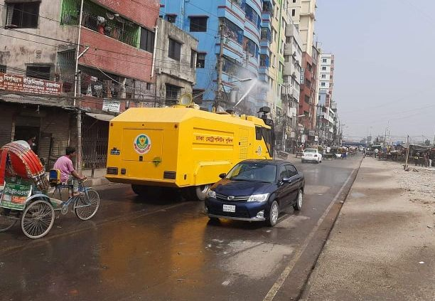 DMP uses water cannons to disinfect streets amid coronavirus outbreak