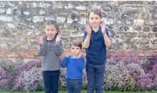 UK's youngest royals join in applauding health workers
