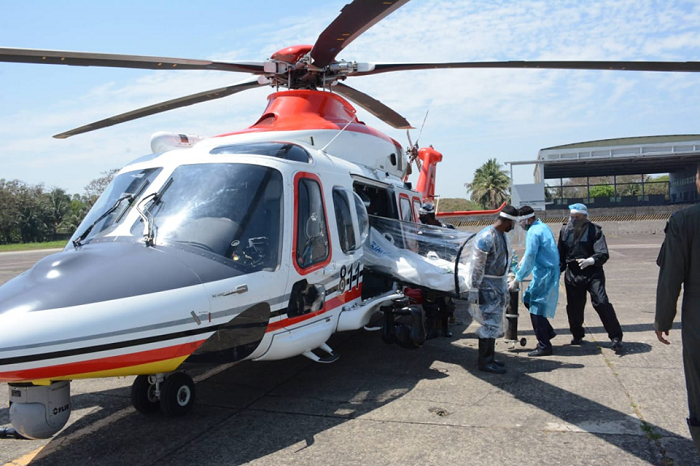 Special helicopter getting ready to carry corona patients
