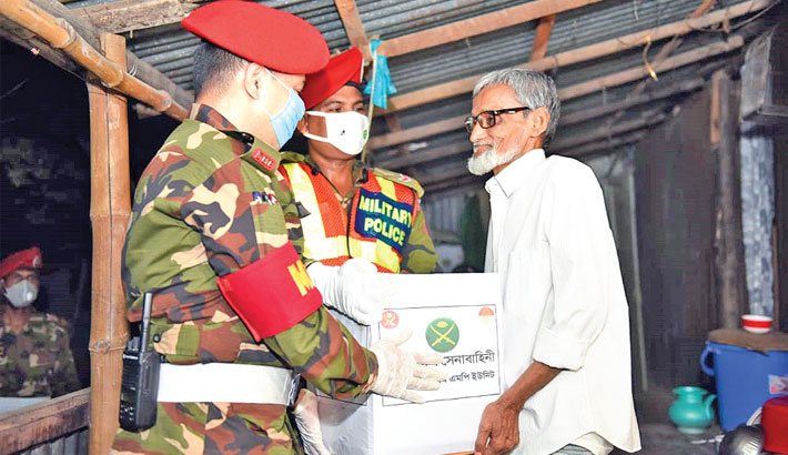Army MP unit distributes relief among destitute