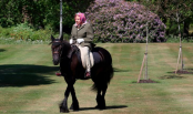 Queen Elizabeth, 94, pictured horseback riding during lockdown