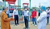 DSCC mayor visits city  bus stops