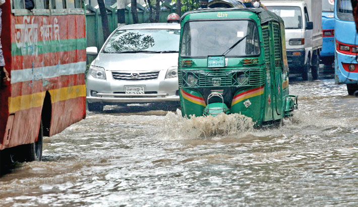 Different areas of the capital go under water due to the rain