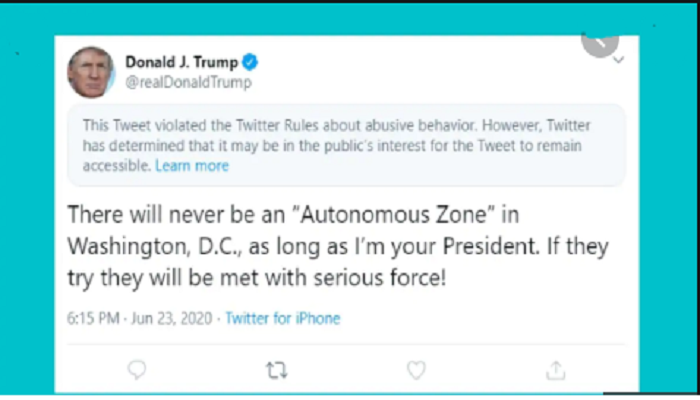 Twitter hides new Trump tweet targeting protestors, labels it 'abusive'