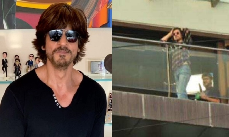 Shah Rukh spotted shooting at Mannat