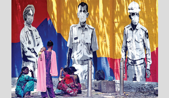 Wall mural painted to thank frontline workers