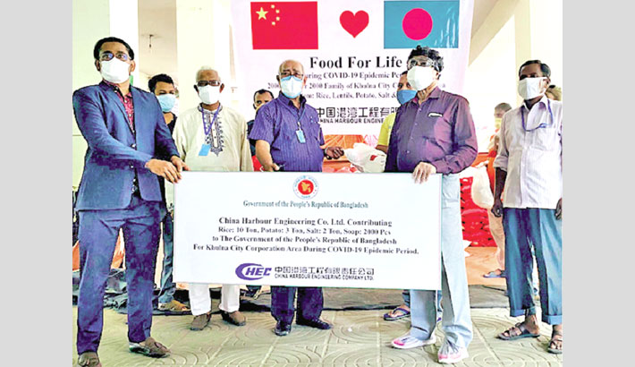 China Harbour gives relief goods to Covid-hit poor people in Khulna