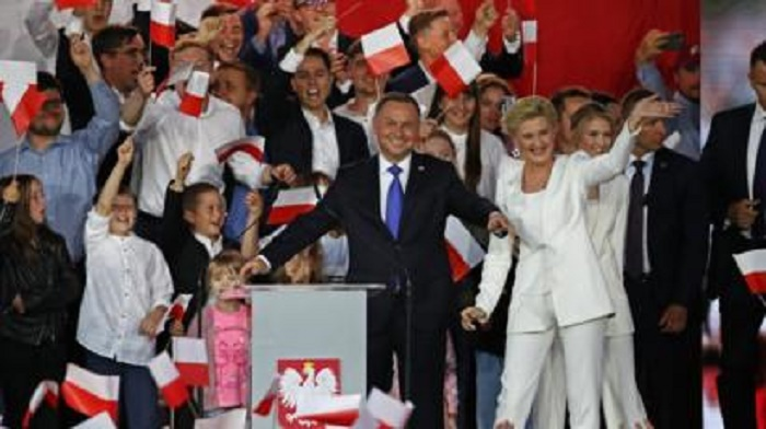 Poland's Duda holds slim lead in presidential election, exit polls suggest