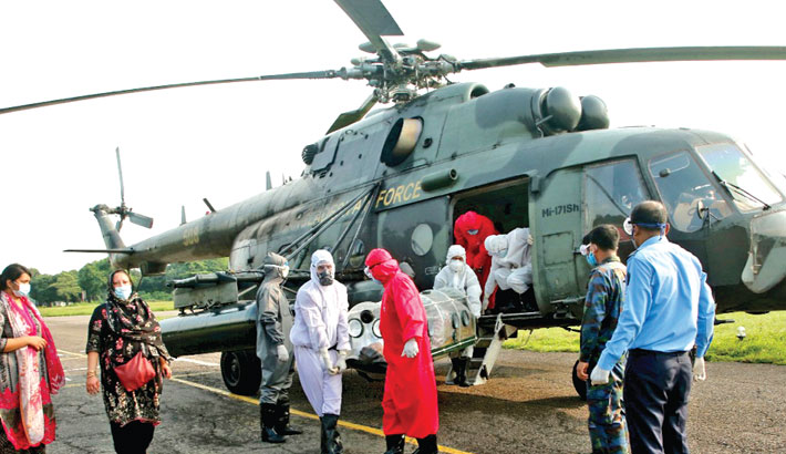 Corona-infected doctor airlifted to Dhaka