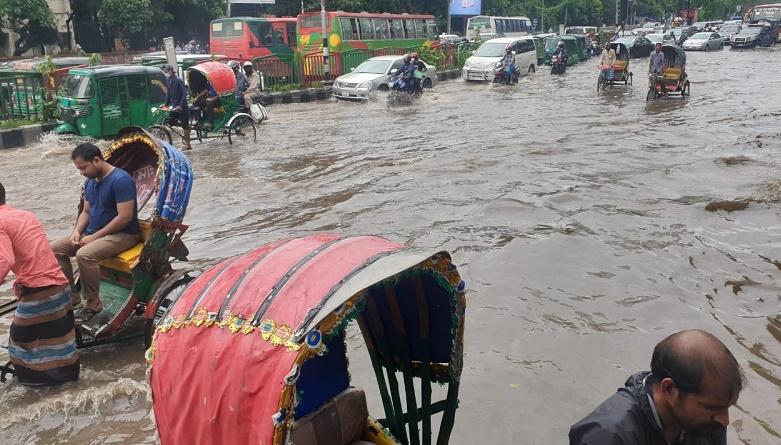 Waterlogging triggered by overnight rains hampers Dhaka life