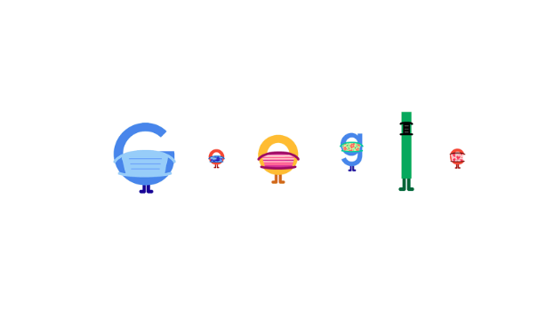 Google Doodle letters wear masks and social distance from each other