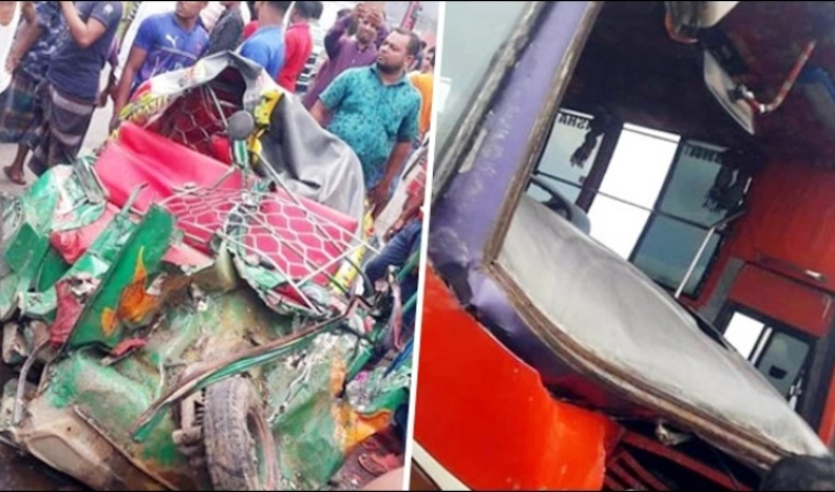 5 of a family among 7 die in bus, auto-rickshaw collision in Mymensingh