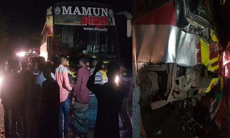 Six among three of a family killed as bus hits auto-rickshaw in Sylhet
