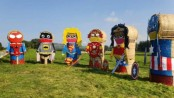 Hay bale superheroes keep the distance in Northern Ireland