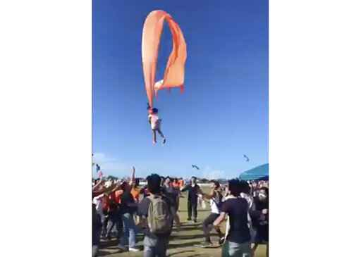 Three-year-old girl thrown high into the air by kite
