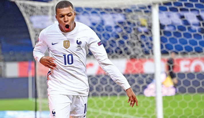 France forward Kylian Mbappe celebrates after scoring the opening goal