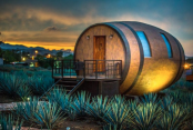 Travelers can book stays in barrels next to a tequila distillery with drinks tastings