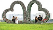 People sit on a heart-shaped structure at an open field