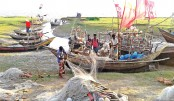 Fishermen are repairing fishing nets