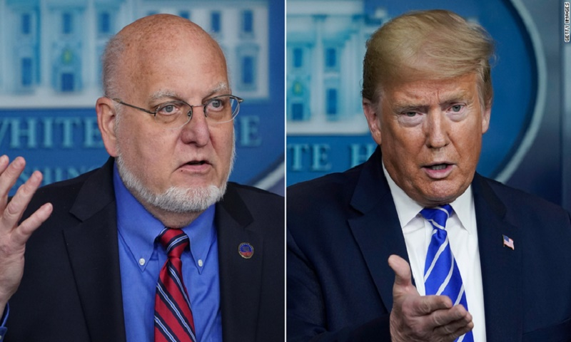 Trump disputes CDC head's vaccine timeline and mask claims