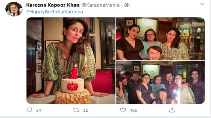 "Kareena celebrates birthday with family and her ""fabulous at 40"" cake"