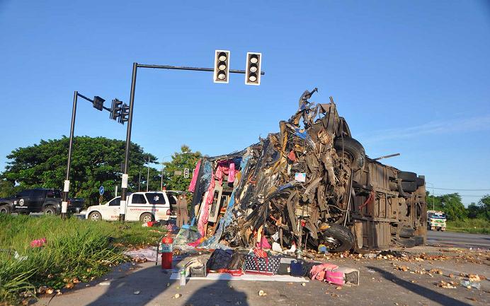 7 killed, 40 injured in tour bus crash in Thailand