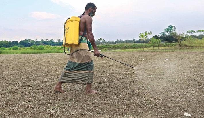Farmer sprays vitamin on his field