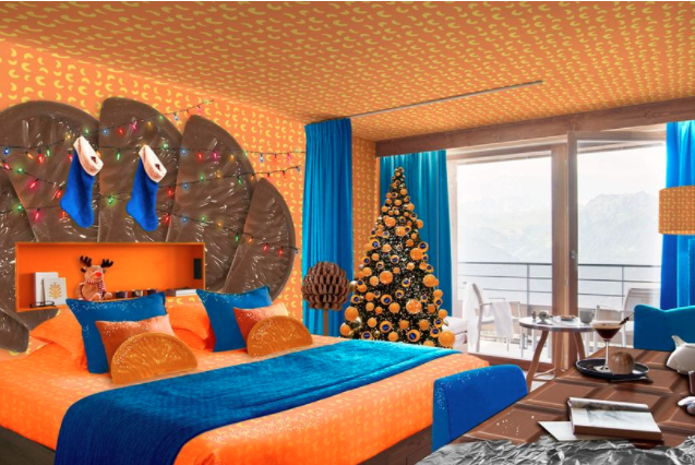 You can stay in a Chocolate Orange themed room for Christmas and it's amazing