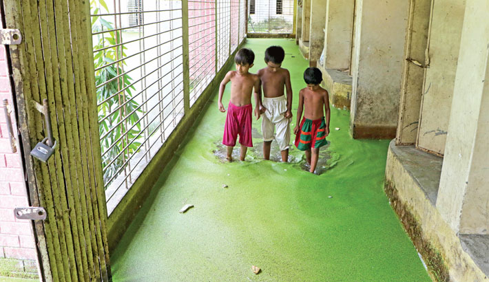 Rainwater remains stagnant on ground floor of Kajlarpar Government Primary School