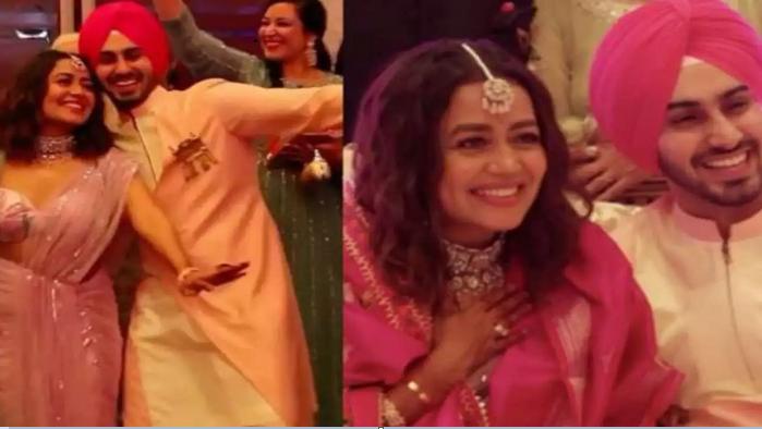 Neha Kakkar, Rohanpreet dance to dhol beats, share hugs at their roka ceremony