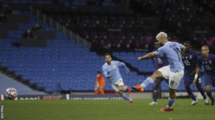 Aguero's 40th Champions League goal helps Man City fight back to beat Porto