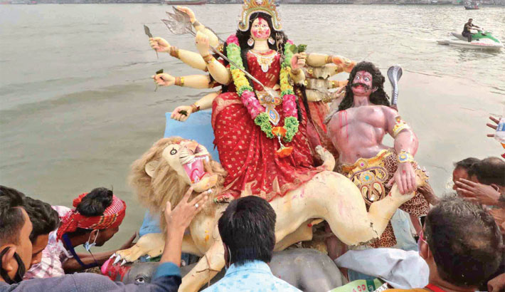 Durga Puja ends with immersion  of goddess