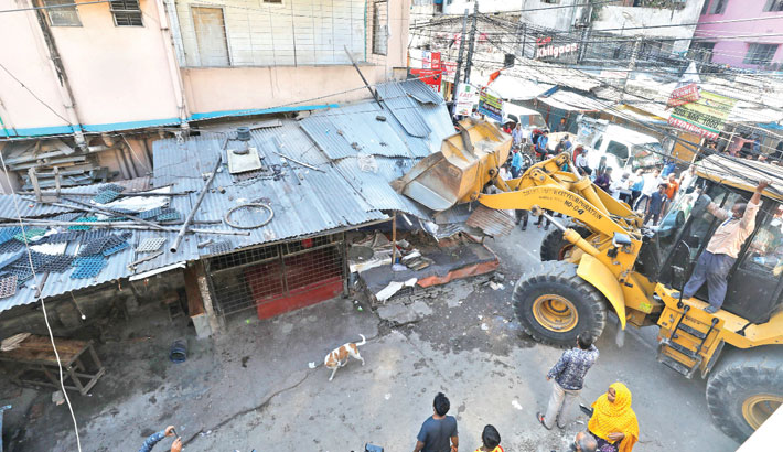 Illegally constructed structures knocks down