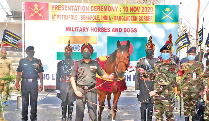 Indian Army gift 20 horses, 10 dogs to Bangladesh Army