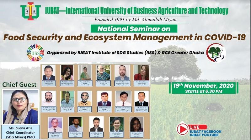 Seminar on Food Security and Ecosystem Management on Nov 19 at IUBAT