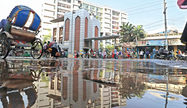 Dirty water from the overflowing sewerage line