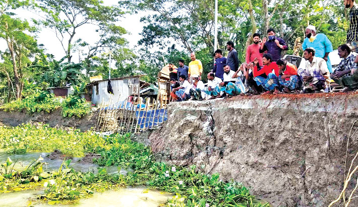 Erosion by the Sandhya river has taken a serious turn