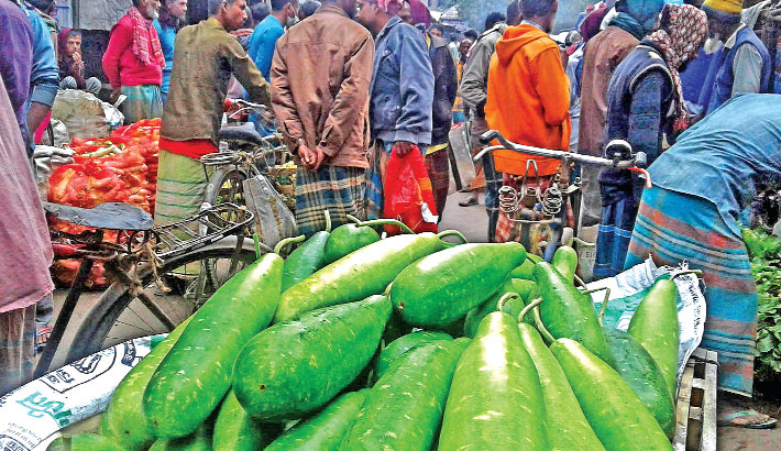 Winter vegetables galore at a market in Dhunat upazila