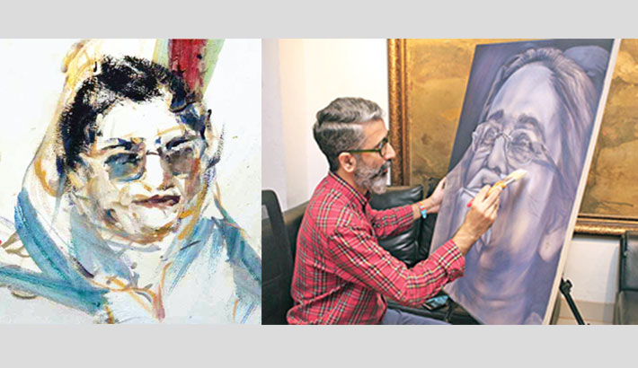 Artworks depict eventful life of Sheikh Hasina